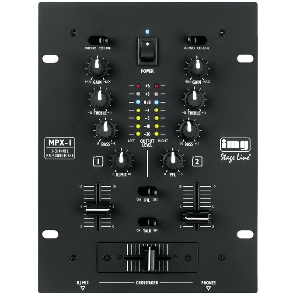 IGTEK - IMG STAGE LINE MPX-1/BK MIXER STEREO PER DJ 2 CANALI STEREO DJ-MIC CON TALKOVER