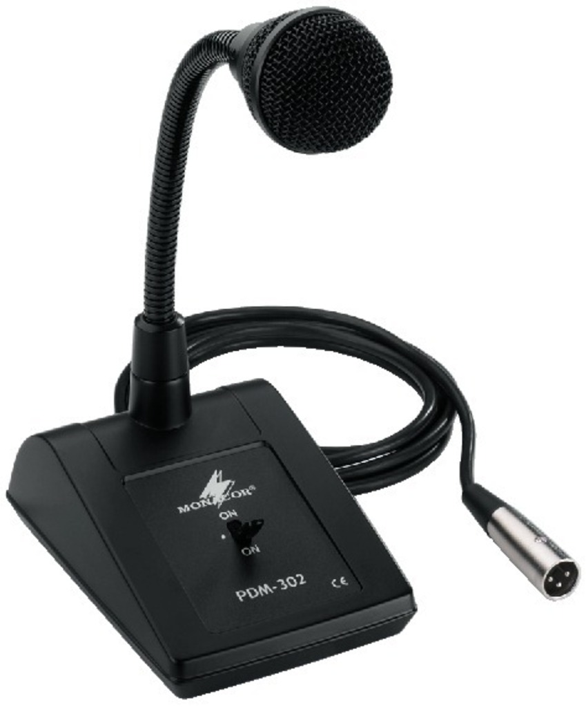Monacor pdm 302 microfono pa da tavolo con collo di cigno con cavo xlr 5 metri - Microfono da tavolo wireless ...