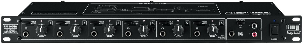 IGTEK - IMG STAGE LINE PPA-100/SW AMPLIFICATORE PER CUFFIE STEREO 6 USCITE INDIPENDENTI