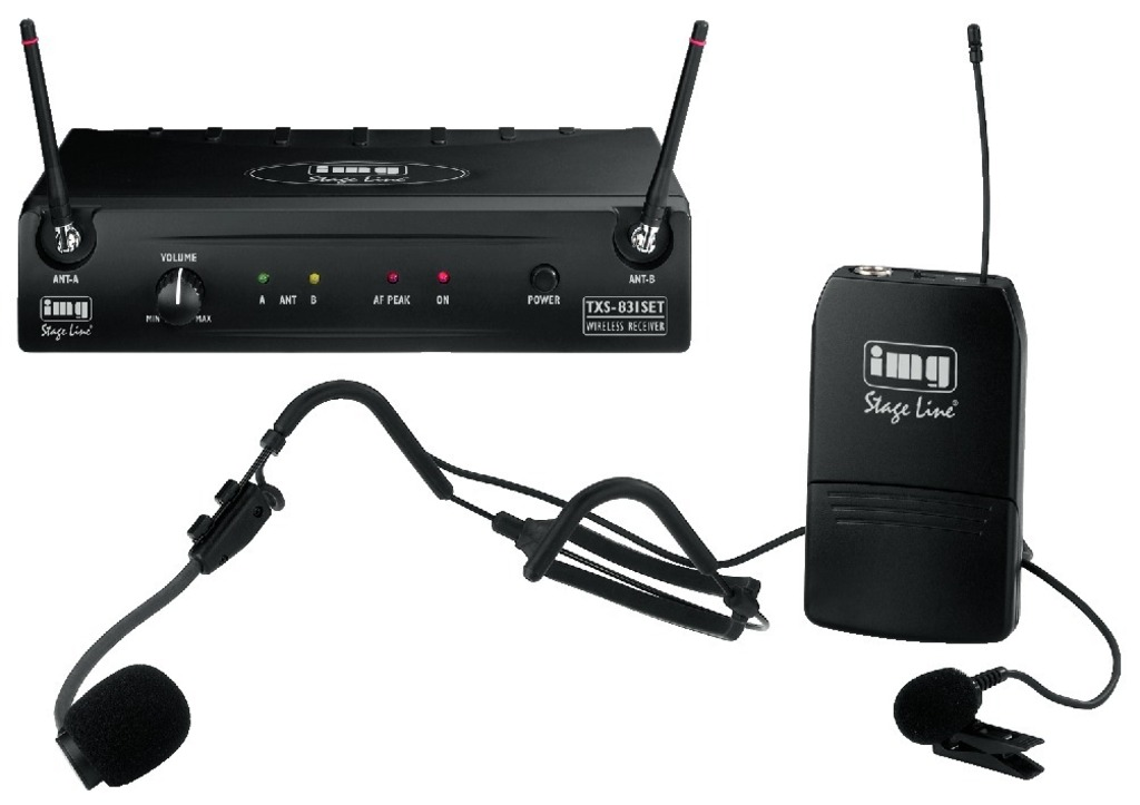 IGTEK - IMG STAGE LINE TXS-831SET MICROFONO HEADSET MULTIFREQUENZA RICEVITORE WIRELESS