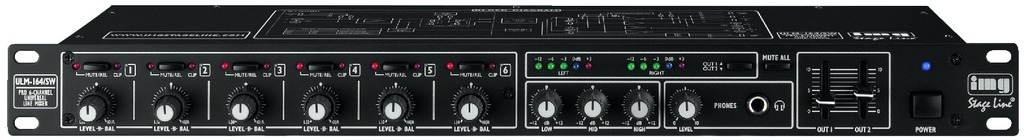 IGTEK - IMG STAGE LINE ULM-164/SW MIXER AUDIO UNIVERSALE LINE 6 CANALI RACK 482MM